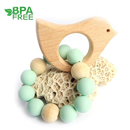 (Loouer Wooden Teether for Babies Bird Teething Bracelet Toy Nursing Toy for Baby Natural Wood Teething Rattle for Toddler Early Perceive and Count Toys Photography Props (Green))