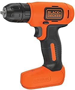 Black & Decker 7.2V Lithium-Ion Compact Cordless Drill with one Piece Screwdriver Bit Set, Orange/Black - BDCD8-B5+X60480-XJ