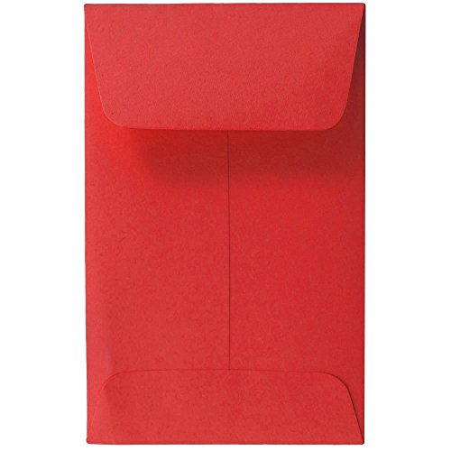 """Free JAM Paper #1 Coin Envelopes - 2 1/4"""" x 3 1/2"""" - Red - 50/pack"""