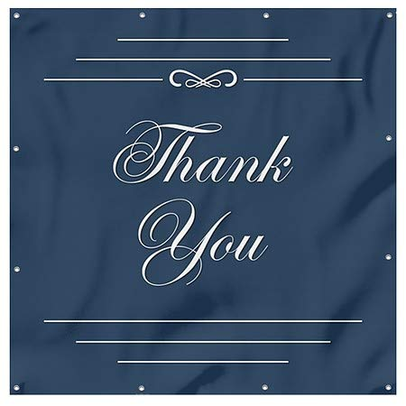 Classic Navy Wind-Resistant Outdoor Mesh Vinyl Banner Thank You CGSignLab 8x8
