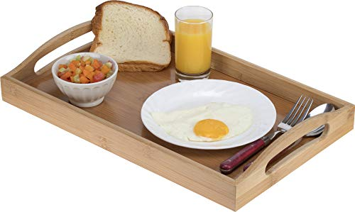 Serving tray bamboo - wooden tray with handles - Great for dinner trays, tea tray, bar tray, breakfast Tray, or any food tray - good for parties or bed tray by HOME IT- (Image #2)