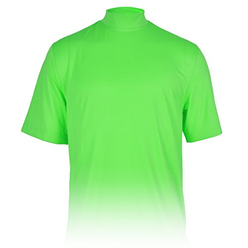 Monterey Club Mens Dry Swing X-Cool Oval Texture Mock Neck Shirt #3298 (Brilliant Green, - Mock Golf Performance Shirt