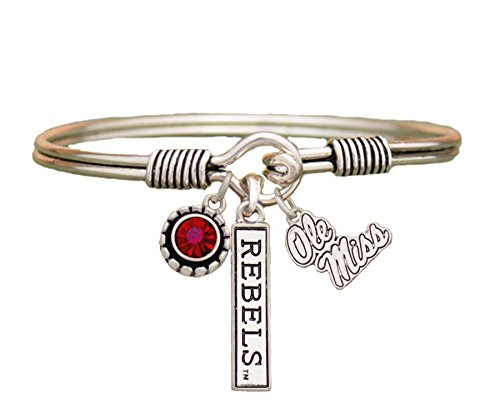 Sports Accessory Store Ole Miss Rebels 3 Charm Red Crystal Silver Wire Bracelet Jewelry Licensed UM