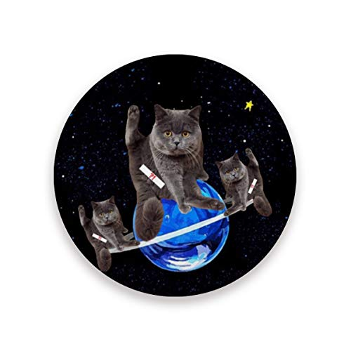 British Shorthair Cat Planet Ceramic Coasters for Drinks,Round 4 Piece Coaster Set