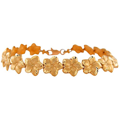 (10k Yellow Gold Ladies 1cm Wide Diamond Cut Plumeria Hawaiian Flower Bracelet)