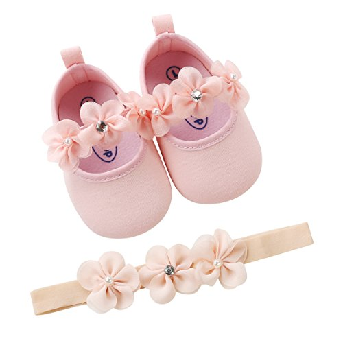 (Isbasic Baby Boys Girls Flat Shoes Toddler Soft Sole Mary Jane Pincess Christening Baptism Crib Shoes (0-6 Months, Pink Shoes+Hairband))