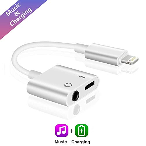 ebasy Lighting to 3.5mm Headphone Jack aux Cable Adapter, 2 in 1 Adapter Compatible with Phone 7/7 Plus / 8/8 Plus/X/XS/XR/XS Max, Audio and Charge Adapter (Support iOS 11, iOS12)-White