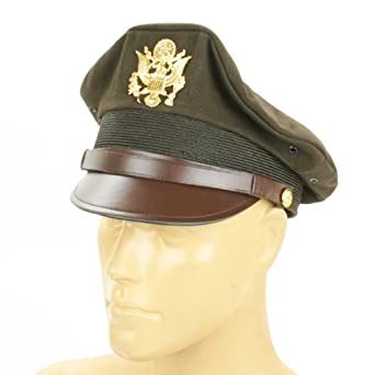 Retro Clothing for Men | Vintage Men's Fashion U.S. WWII Officer Visor Crusher Cap: Winter (OD Green)- Size 7 US 1/2 (60 cm) $64.95 AT vintagedancer.com
