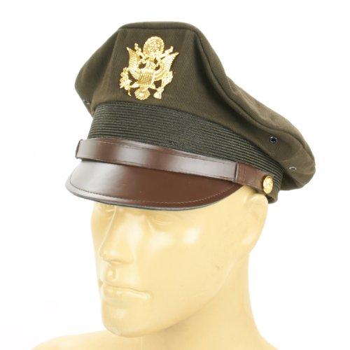 U.S. WWII Officer Visor Crusher Cap: Winter (OD Green)- Size US 7 1/4 (58 cm)