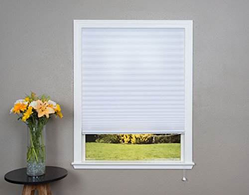 Original Corded Lift Light Filtering Pleated Fabric Shade White, 36''x 72'' by Redi Shade (Image #1)