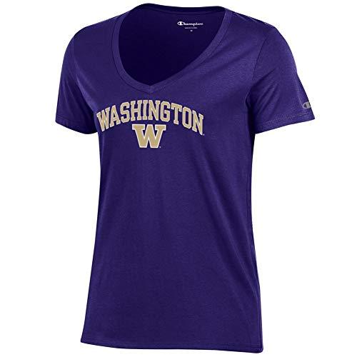 Elite Fan Shop Washington Huskies Womens Vneck Tshirt Purple Arch - ()