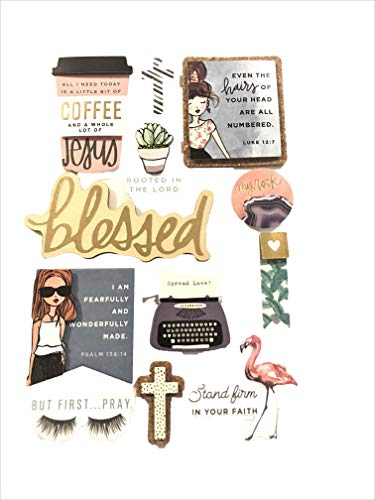 3-D Coffee & Jesus Stickers, 12 Pcs Gold Foiled Accents Faith, Planner, Scrapbook, Cards