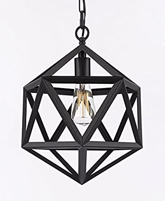 Wrought Iron Polyhedron Vintage Barn Metal Pendant Chandelier Industrial Loft Lighting H14 W12 SWAG PLUG IN-CHANDELIER W/ 14' FEET OF HANGING CHAIN AND WIRE!