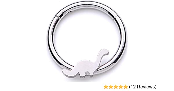 Body Candy 16G 316L Steel Hinged Segment Ring Seamless Cartilage Nipple Ring Crescent Moon Nose Hoop 10mm