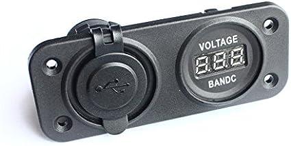 pannello con presa di alimentazione e voltmetro doppia porta USB BANDC Bussola a macchina grado marino per auto camper caravan