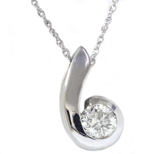 White Gold 1/4ct Solitaire Diamond Swirl Pendant & Necklace