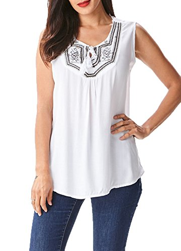 [in2you Bohemian Tribal Sleeveless Top with Embroidered details on Chest (M/L, White)] (Embroidered Sleeveless Top)