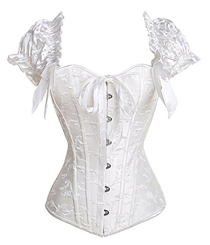 Women's Princess Renaissance Corset Floral Ruched Sleeves Elegant Overbust Top 2X-Large White - Ruched Shimmer