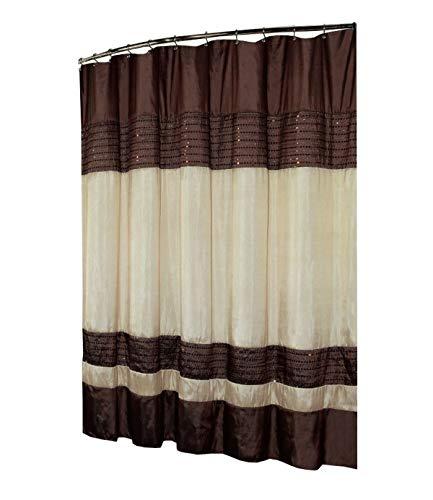 Kashi Home Ibiza Shower Curtain 70x72, Brown Ivory