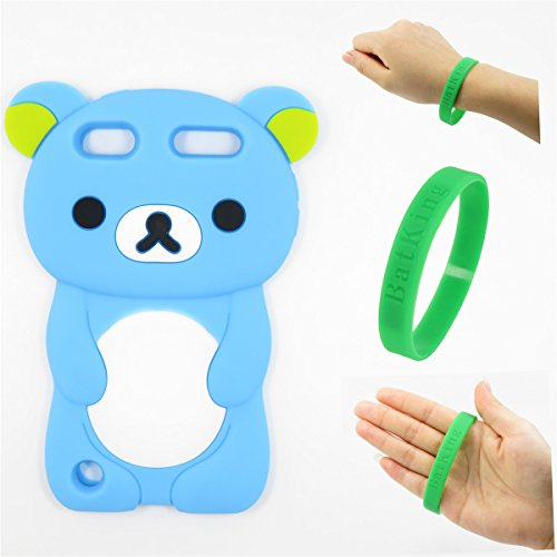 iPod Touch 5 Case,Apple iPod Touch 6 Silicone Case,Bat King 3D Cartoon Sky Blue Rilakkuma Bear Silicon Gel Rubber Case Cover Skin for Apple iPod Touch 5/Touch 6 (Starbucks Case Ipod)