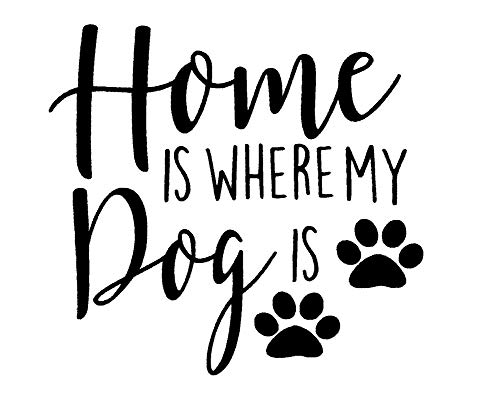CCI Home is Where My Dog is Paw Prints Decal Vinyl Sticker|Cars Trucks Vans Walls Laptop|Black|5.5 x 5.1 in|CCI2048