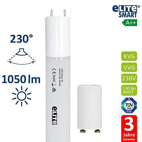 FWI: 865 8 W ASW : 230 /° eLITe SMART Tube LED T8 en verre ind/éformable Blanc lumi/ère du jour 130 lm//W Pas de suspension 60 cm de long Certifi/é T/ÜV Culot G13 1050 lm