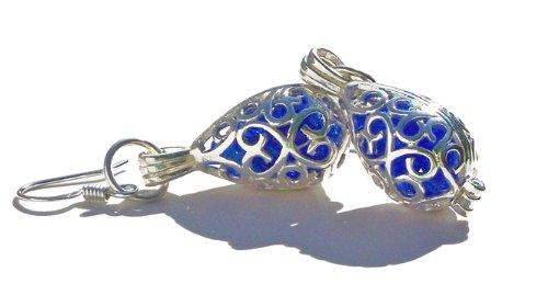 recycled-cobalt-noxzema-bottle-silver-filigree-teardrop-earrings