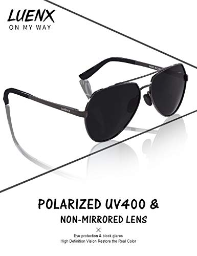 LUENX Mens Aviator Sunglasses Polarized UV 400 Protection shades with case 60MM