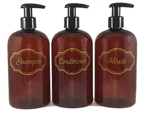 Bottiful Home- 16 oz Refillable Empty Amber PET Plastic Shampoo, Conditioner & Wash Pump Bottle Set-Gold Printed-Black Pumps-Fully Waterproof, Rust-Free, Clog-Free, Drip-Free