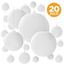 """20 White Paper Lanterns for Weddings, Birthdays, Parties and Events - Assorted Round Sizes of 6"""", 8"""", 10"""" and 12"""" - By Avoseta."""