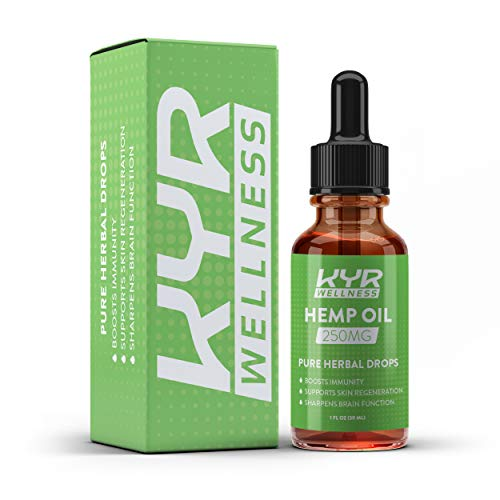 KYR Hemp Oil for Pain and Anxiety Relief, Also Helps with Sleep, Boost Immunity, Supports Skin Regeneration and Sharpens Brain Function. Pure Herbal Extract Drops (250MG)