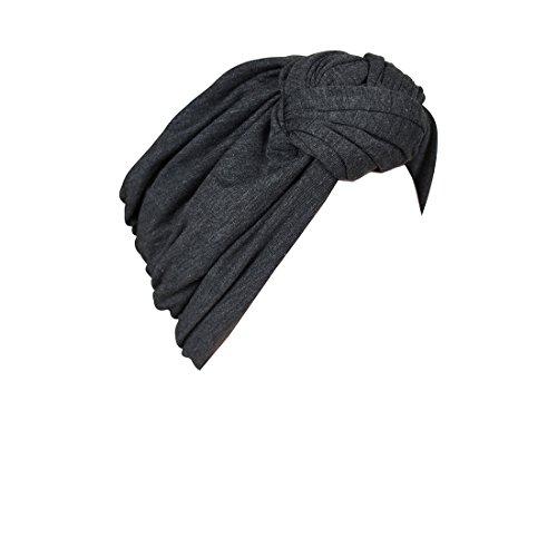 Landana Headscarves Dark Heather Grey Turbans for Women with Twist/Knot Front