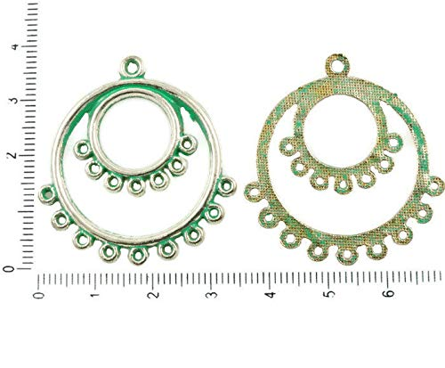 Dangling Pendant Charm (4pcs Antique Silver Tone Turquoise Green Patina Wash Multi Hole Hoop Chandelier Dangling Earrings Charms Pendant Connector 35mm x 38mm)