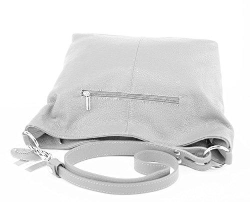 OBC VERA PELLE Borsetta da donna Shopper Borsa a tracolla borsa borsa con manici iPad mini tablet fino 10 pollici daisy5 28x24x14 cm ( BxHxT ) (grigio chiaro)