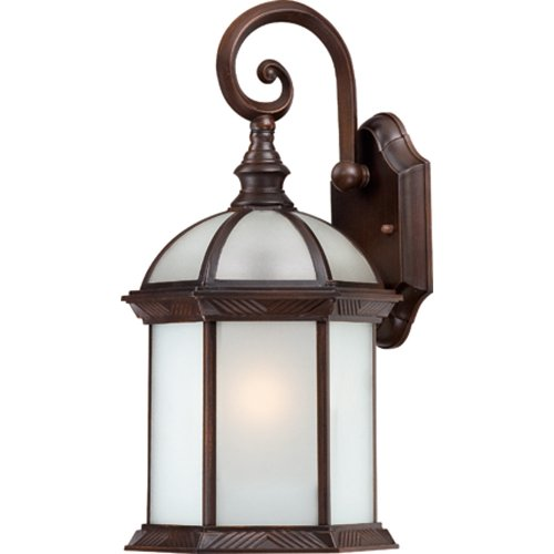 Nuvo Lighting 60/4982 Boxwood Energy Star One Light Small Wall Lantern/Arm Down Bulb Included Frosted Glass Rustic Bronze Outdoor Fixture (Billiard Light Spiral)