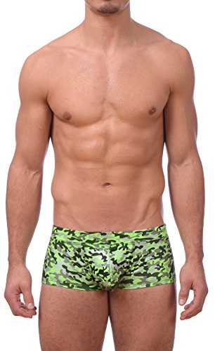 [Mens Printed Hot Body Boxer Swimsuit by Gary Majdell Sport (Green Camo, Large)] (Green Man Body Suit)