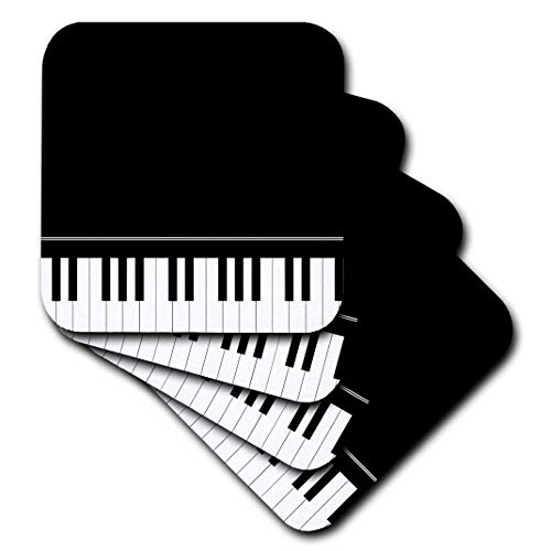 (3dRose Black Piano Edge - Baby Grand Keyboard Music Design for Pianist Musical Player and Musician Gifts - Soft Coasters, Set of 8 (CST_112947_2))