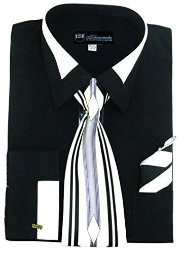Shirt Tie Combo - Milano Moda High Fashion Dress Shirt with Contrast Design Tie, Hankie & Cuffs Black-19-19 1/2-36-37