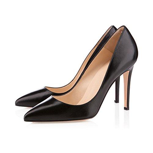 EDEFS Klassische Damenschuhe Pumps Stiletto 10cm Absatzhöhe Slip On Geschlossen Schuhe Schwarz