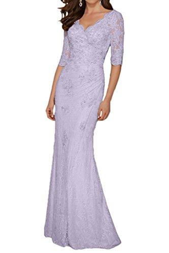 Champagner Etuikleider La Hochwertig Spitze Ausschnitt mia Braut V Brautmutterkleider Bodenlang Abendkleider Lilac pwqwE7