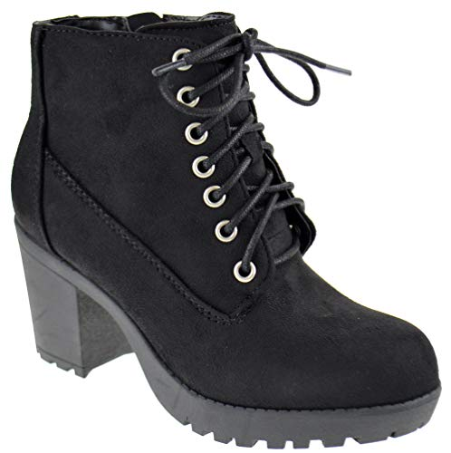 SODA Second S Womens Lace Up Chunky Heel Side Zipper Platform Booties Black Suede 7.5