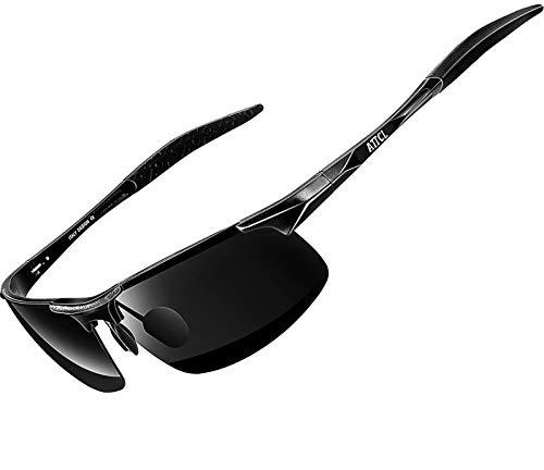 ATTCL Men's Fashion Driving Polarized Sports Sunglasses for Men Al-Mg Metal Frame Ultra Light (Black1,8177)