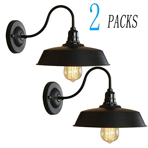 BRIGHTESS #8973 Retro Black Wall Sconce Lighting Gooseneck Barn Lights Industrial Vintage Farmhouse Wall Lamp Include ON-Off Wall Light Led Porch Light for Indoor Bathroom Hardwired(2packs)