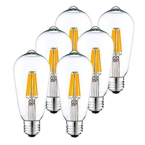 BATHEBRIGHT Dimmable Edison LED Bulbs 6W Vintage LED Filament Light Bulb 2700K WarmWhite 60W Incandescent Equivalent E26 Base Lamp for Restaurant Home Reading Room Office Pack-6