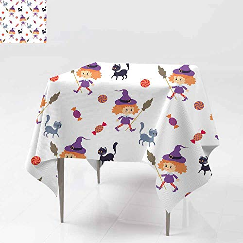 Fbdace Water Resistant Table Cloth,Seamless Pattern with Traditional Characters of Halloween Dinner Picnic Table Cloth Home Decoration 50x50 Inch ()
