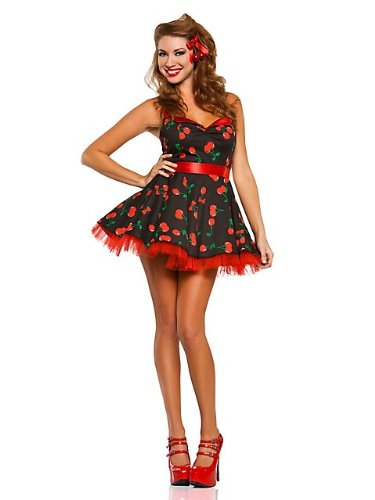 [Sexy Women's 50's Cherry Pop Pinup Girl Costume L] (Pin Up Girl Costume Halloween)