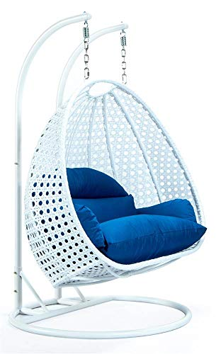 LeisureMod Outdoor White Wicker Hanging Double Egg Swing Chair in Blue