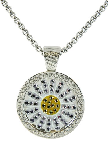 (Sunflower White Micro Pave Crystal Ball Marker w/ Swarovski Crystal Chameleon Magnetic Necklace)