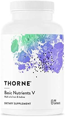 Thorne Research – Basic Nutrients V with Copper and Without Iron or Iodine – Complete Multiple Vitamin-Mineral Supplement Without Iron or Iodine – 180 Capsules