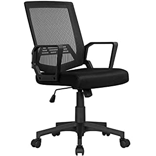 YAHEETECH Computer Chair Ergonomic Office Chair Mid-Back Desk Chair w/Armrest and Swivel Casters - Black